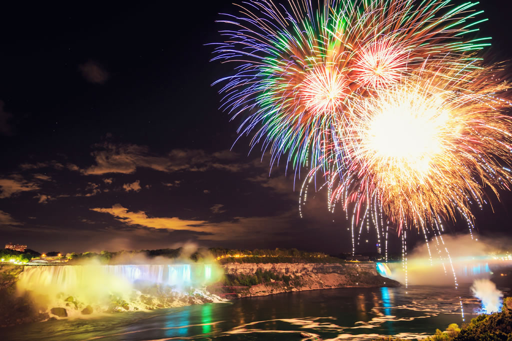Fireworks light up the sky above Niagara Falls