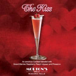 Enjoy Valentine's Day in Niagara Falls with a Kiss cocktail at Morton's Grille.