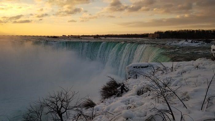 Stunning view of Niagara Falls in the Winter